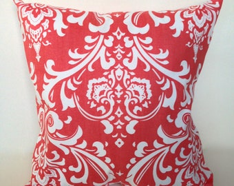 """Coral damask accent pillow cover with zipper, 14 x 14"""""""