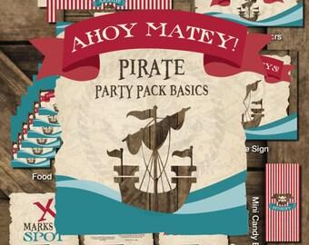 Pirate Printable Party, Pirate Birthday Printables, Pirate Birthday Decorations, Pirate Party Kit, Pirate Boy Birthday, Pirate Theme Party
