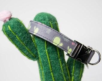 "Dog Collar ""Cactus Black"" Dog Collar and Leash Set"
