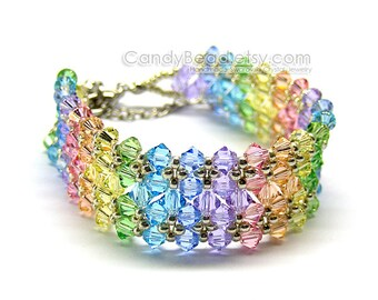 Rainbow bracelet; crystal bracelet; Swarovski bracelet; Glass bracelet;Swarovski Crystal Bracelet, Sweet Rainbow Crystal Bracelet