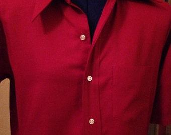 Nice Deep Red Vintage Men's Dress Shirt