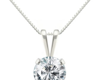 925 Sterling Silver Natural AAA 6mm Diamonique CZ 4 Prong Pendant Necklace