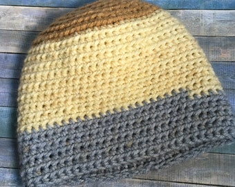 Handmade Crochet Striped Baby Hat- 6-12 months