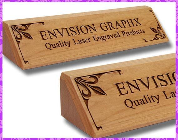 Unique Personalized Custom Engraved Alder Wood Classic Desk Name LK67