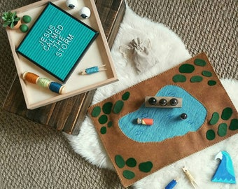 Sea of Galilee felt and wool Playscape playmat | Bible Playscapes pretend play storytelling story time lake - geography