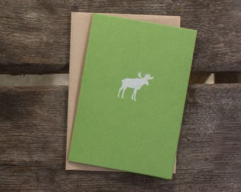 moss green MOOSE folded notecards   set of 5 or boxed gift set of 10