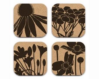 CONEFLOWER WILDFLOWERS Floral Design Cork Coasters Hostess Gift Home Decor