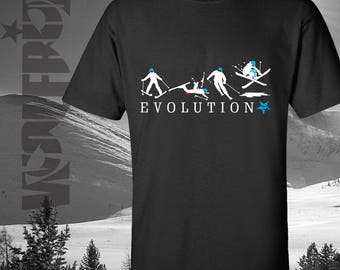 Evolution of Skiing, ski t-shirt, great quality 100% cotton tee, with funny ski progression print