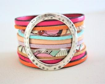 "Orange ""circle"" Jungle Cuff Bracelet, purple and fuchsia"