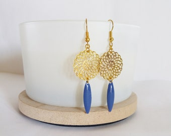 Chic dark blue and gold Stud Earrings