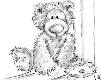 Signed Limited Print, 'Winty Bear On A Shelf'
