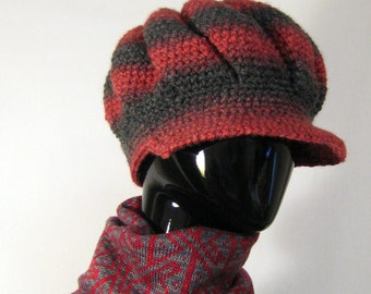 Red and black newsboy hat Winter women accessories Ribbed hat crochet Slouchy beret Visor hat knit Grey hat Red hat Wool hat Gift for sister