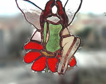Stained Glass Fairy on the flower. Stained Glass home decor, suncatcher garden decor, window decor, gift for her