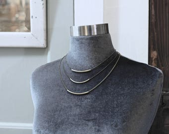 CIVAL Collective - London | Necklace | Minimalist Brass Arc | Mod | Simple Basic | Layering Choker | Dainty Jewelry | Everyday Wear | Gift
