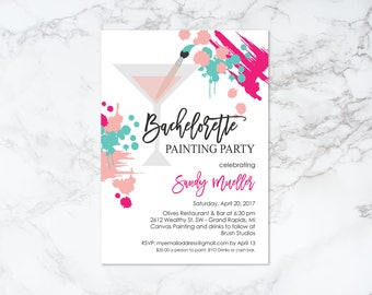 Printable Bachelorette Painting Party Theme with Martini Glass Invitation