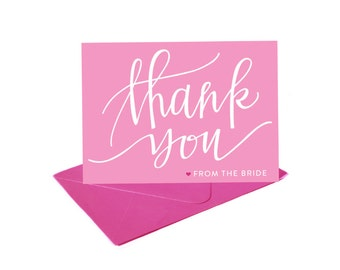 Bright and Cute Thank You Cards from the Bride --- Set of 8