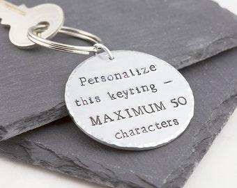 Personalized keychain, hand stamped, personalized keyring, custom keychain, personalized gift, quote keychain, round keychain, for him