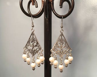 White Glass Pearl Bead Earrings, Antiqued Tibetan Silver Earrings, Silver Chandelier Earrings, Handmade Earrings