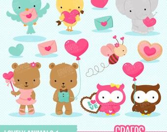 LOVELY ANIMALS 1 - Digital Clipart Set, Bear Clipart, Valentine Clipart, Bird Clipart, Owls Clipart.