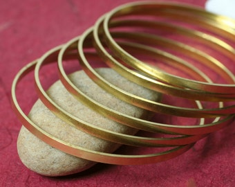 Stacking Bangle Bracelet, Brass Bangle, Solid Brass Bangle Blank, Small to Medium, 2 pcs (item ID FA01255)