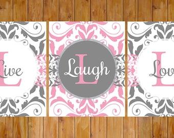 Damask Pink Grey Live Laugh Love Bedroom Bathroom Guestroom Set of 3 8x10 Digital JPG files  Instant Download (227)