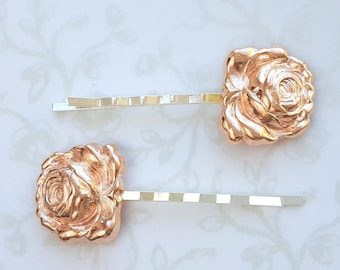 Rose Gold Enchanted Rose Hair Pin Set of 2, Bobby Pins, Beauty and the Beast Rose, Woodland, Garden Wedding, Nature, Vintage Bridal Hair