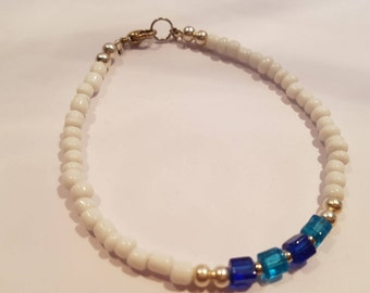Blue Cube and White Seed Bead Bracelet
