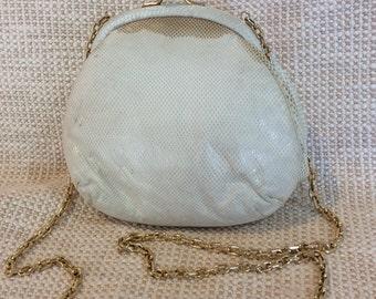 Genuine vintage JUDITH LEIBER karung cream kisslock chain link shoulder bag