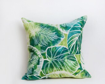 Green Leaf Outdoor Pillow, Green, Outdoor Pillow, Leaf Pillow, Pillow, Teal, Yellow, Leaf Decor, Tropical,