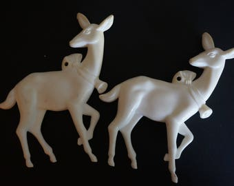 Vintage White Reindeer Ornaments Set of 2 Christmas Ornaments  White Reindeer Holiday Ornament