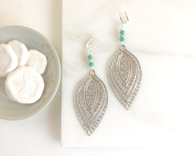 Large Silver Statement Earrings.  Big Dangle Earrings with Silver Filigree and Aqua Stones.  Statement Jewelry Gift.  Dangle Earrings.
