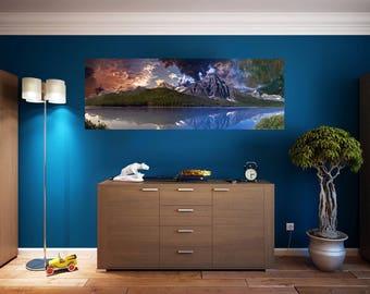 Sky Lake Mountains Wall Art Sticker Vinyl Decal Custom Home Decor
