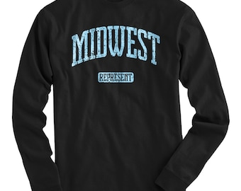 LS Midwest Represent Tee - Long Sleeve T-shirt - Men and Kids - S M L XL 2x 3x 4x - Midwest Shirt - 4 Colors