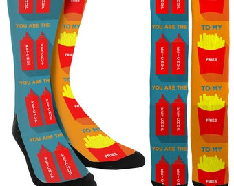 You Are The Ketchup To My Fries Crew Socks - Bae Socks -Novelty Socks -Sock for Men & Women -Gifts for Her- Gifts for Him -FREE Shipping A24
