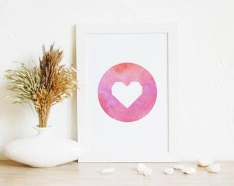 Art print, Love Art, Art Gift, Red Wall Art, Heart Print, Circle art, Printable gift, Heart art, Download art, Kids room, Nursery wall decor