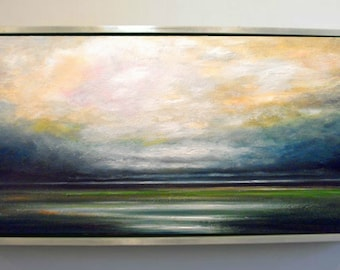 Landscape Painting, Oil Painting, Storm over Wetlands, Rustic Wall Decor, Extra Large, Kitchen Wall Decor, Living Room, Scotland,