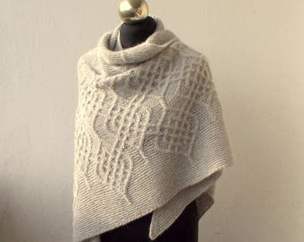 Light Grey hand knitted  alpaca shawl with celtic cable motifs