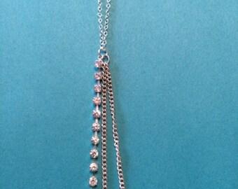 SALE- CLEARANCE - Tassel Necklace - Tassel Jewelry - Rhinestone Necklace - Rhinestone Jewelry - Silver Tassel Necklace - Wedding Jewelry