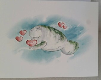 "Manatees Valentine Card HUGS  ""Be My Valentine!"" Valentine's Day Card"