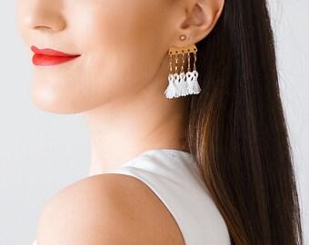 Ear Jacket Stud Earrings Tassel Earrings Miniature Stud Earrings Dangle Earrings Gold Earrings Boho Earrings Bridesmaid Gift  / ROSETTI