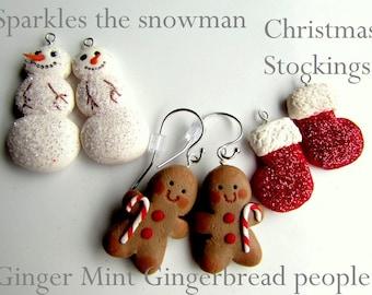 Christmas Earrings - Handmade - triple set interchangeable earrings with sterling silver ear wires.  Handmade in Australia - Cute