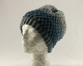 Large Teal and Gray Ombre Crocheted Winter Hat, Puff Stitch Winter Beanie, Adult Size Unisex, Blue and Gray Slouchy Hat