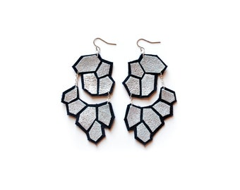 Silver Earrings, Dangle Earrings, Modern Earrings, Leather Earrings, Hexagon Earrings, Geometric Earrings, Statement Earrings