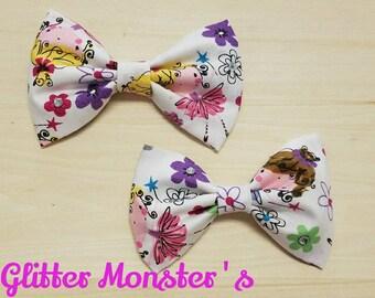 Ballerina Fabric Hair Bow, Princess Hair Bow,Pink and Purple Ballerina Bow,Ballet Hair Bun Bow,Ballet Bow, Girls Ballet Hair Clip,Fabric Bow