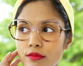 Vintage Eyeglasses 1970s/Glasses/New Old Stock Made In Italy Rainbow colored Multicolor Frames very Cute