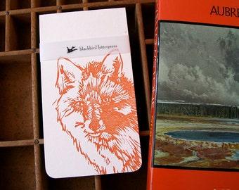 letterpress notebook fox