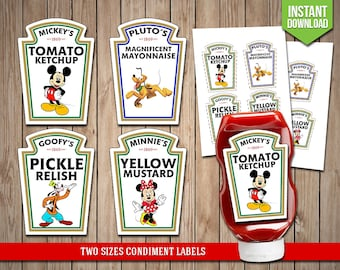 DISNEY CLUBHOUSE Condiment Labels - Mickey Mouse Condiments Disney Heinz Label Favors Table Decoration - Digital JPG Files, Instant Download