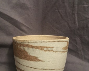 Ceramic Planter // Homemade Pottery // Bare Clay // Handmade Pot // Plant Pot // Marbled Pottery // One of a Kind // Marbled Clay