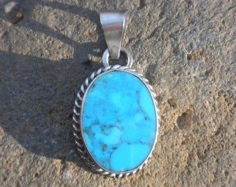 Vintage - Blue Turquoise Pendant, Sterling Silver, Robin's Egg Blue, Oval, Pendant