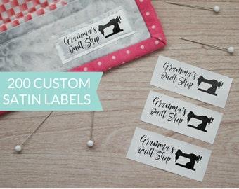 Qty 200 - Custom satin clothing label - Custom Garment label - Printed clothing labels - Custom brand label